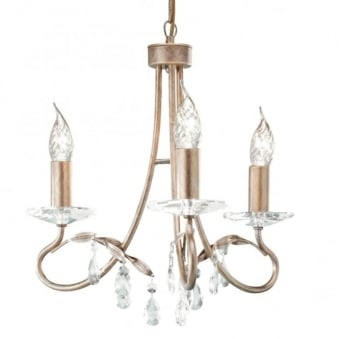 Christina Three Arm Silver and Gold Patina Chandelier