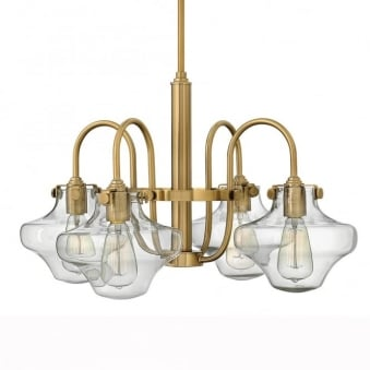 Congress Clear Glass Four Arm Chandelier in Brushed Caramel