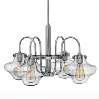 Congress Clear Glass Four Arm Chandelier in Chrome