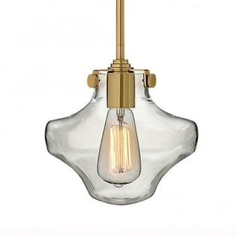 Congress Clear Glass Pendant in Brushed Caramel
