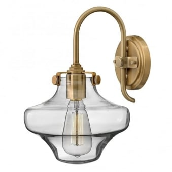 Congress Clear Glass Wall Light in Brushed Caramel