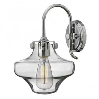 Congress Clear Glass Wall Light in Chrome