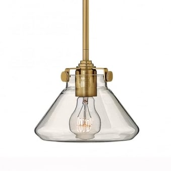 Congress Fluted Clear Glass Pendant in Brushed Caramel