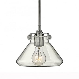 Congress Fluted Clear Glass Pendant in Chrome