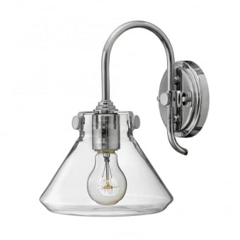 Congress Fluted Clear Glass Wall Light in Chrome