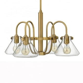 Congress Fluted Glass Four Arm Chandelier in Brushed Caramel