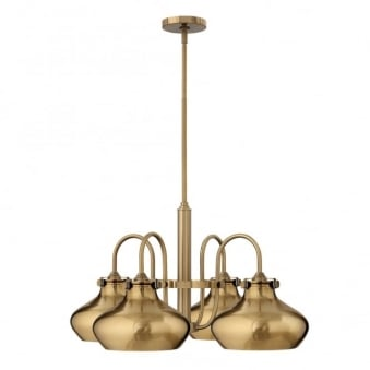 Congress Metal Shade 4 Arm Chandlier in Brushed Caramel