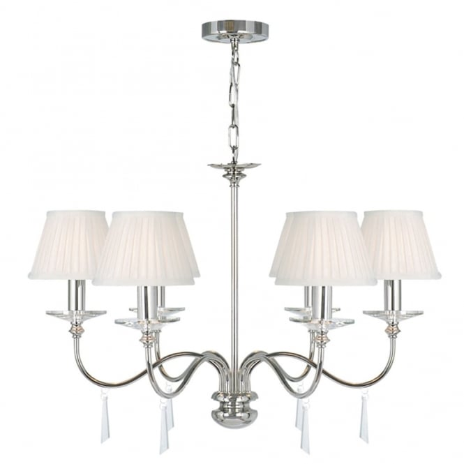 Elstead Lighting Finsbury Park Six Arm Polished Nickel Chandelier
