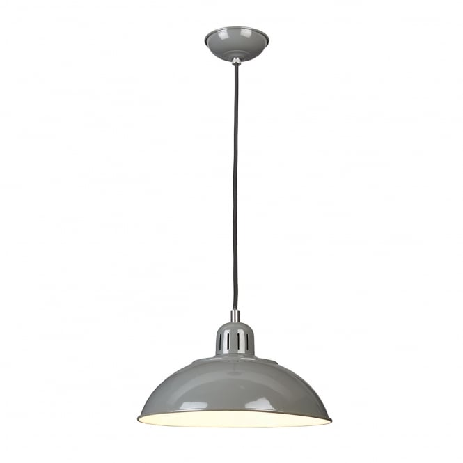 Elstead Lighting Franklin Diner Pendant Light in Tarpaulin Grey