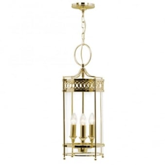Guildhall Chain Lantern in Polished Brass