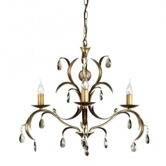 Lily Antique Bronze Patina Three Arm Chandelier
