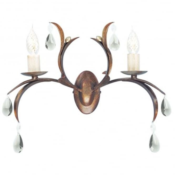 Elstead Lighting Lily Metallic Bronze Twin Arm IP44 Wall Light