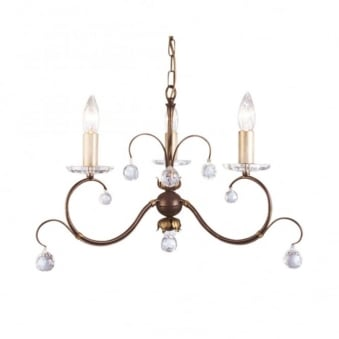 Lunetta Bronze Patina Three Arm Chandelier