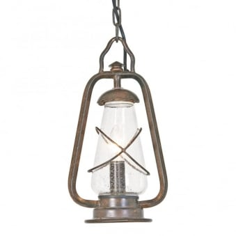Miners Wrought Iron Chain Pendant Light