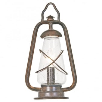 Miners Wrought Iron Outdoor Pedestal Light