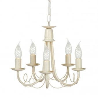 Minster Five Arm Ivory and Gold Chandelierter