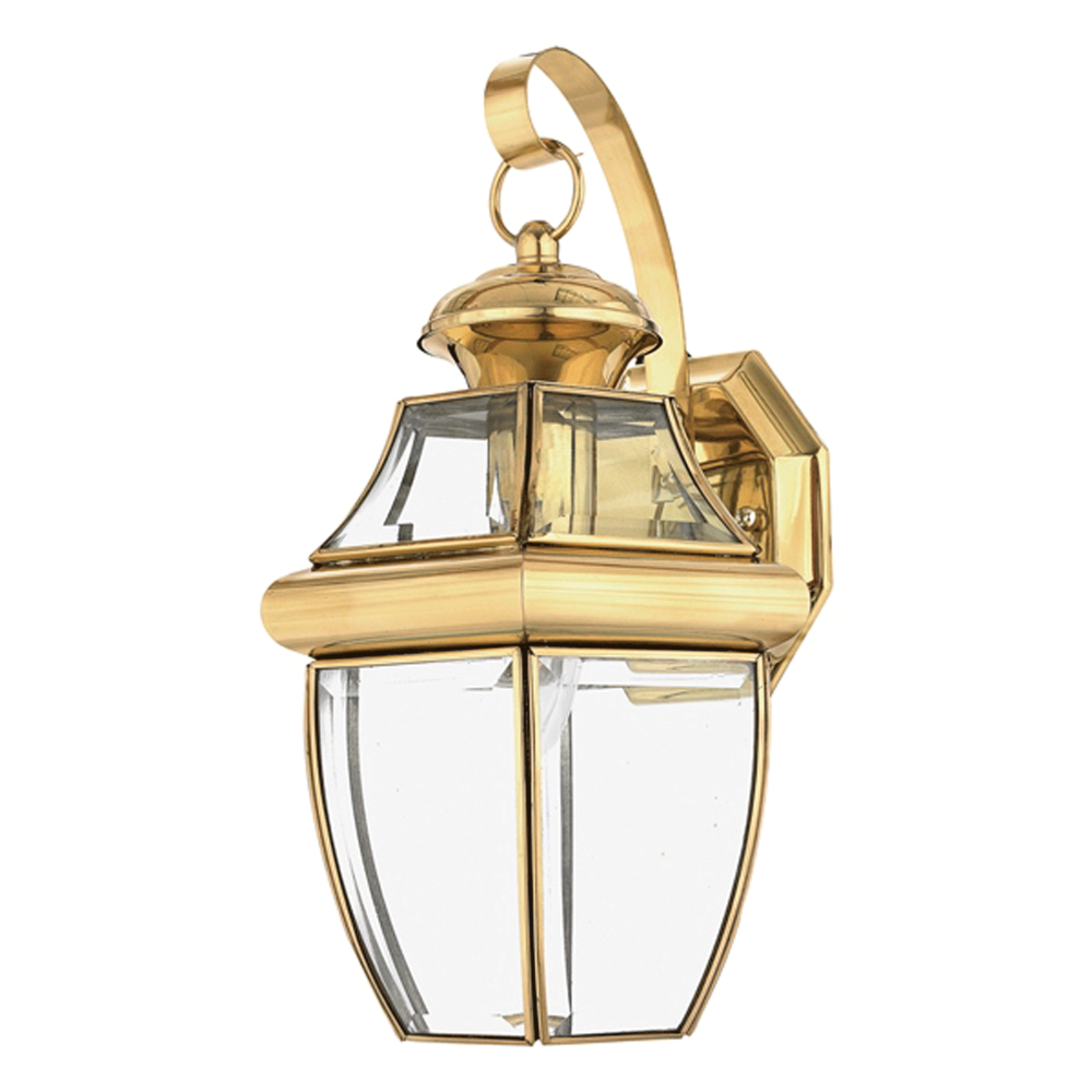 elstead lighting newbury medium outdoor wall lantern in brass