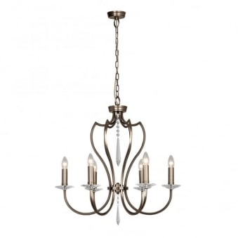 Pimlico Six Arm Dark Bronze Chandelier
