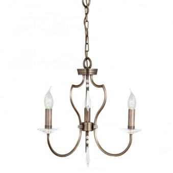 Pimlico Three Arm Dark Bronze Chandelier