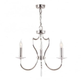 Pimlico Three Arm Polished Nickel Chandelier