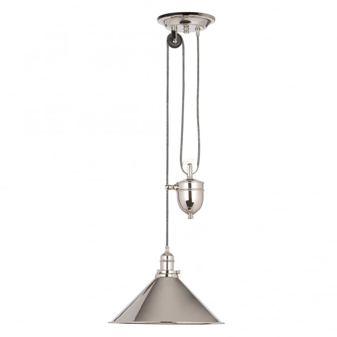 Elstead Lighting Provence Polished Nickel Rise and Fall Pendant Light