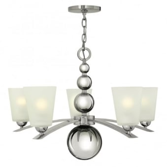 Zelda 5 Light Chandelier in Polished Nickel