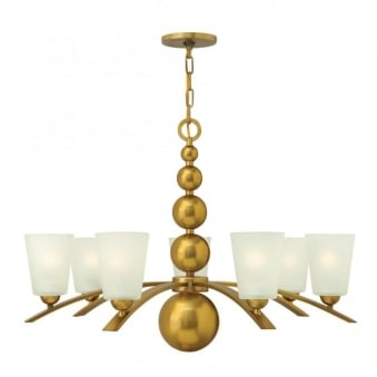 Zelda 7 Light Chandelier in Vintage Brass