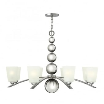 Zelda 8 Light Chandelier in Polished Nickel