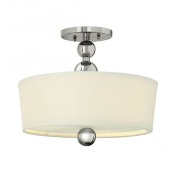 Zelda Semi Flush Ceiling Light in Polished Nickel