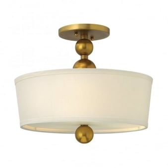 Zelda Semi Flush Ceiling Light in Vintage Brass
