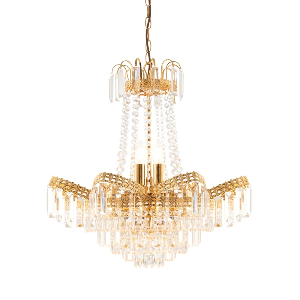 Adagio 9 Light Chandelier Pendant in Gold Effect and Clear Glass  sc 1 st  Dusk Lighting & Endon 96819-GO Adagio 9 Light Chandelier Pendant in Gold Effect ... azcodes.com