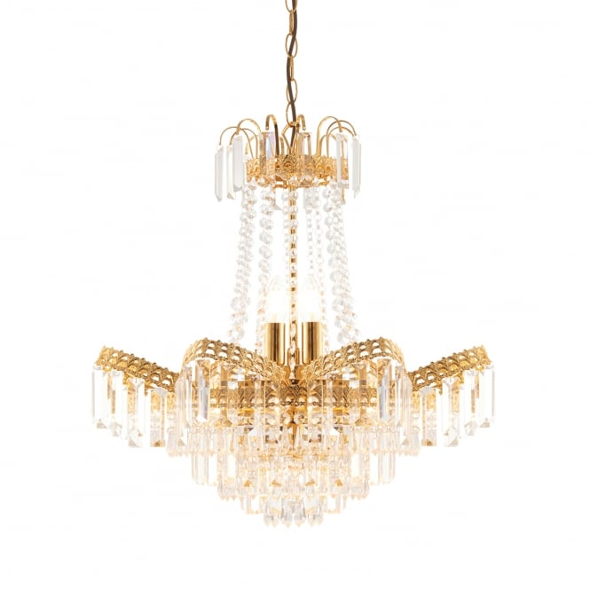 Endon Lighting Adagio 9 Light Chandelier Pendant in Gold Effect and Clear Glass