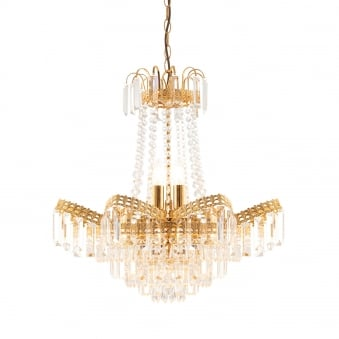 Adagio 9 Light Chandelier Pendant in Gold Effect and Clear Glass