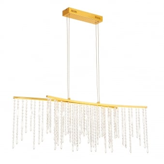 Amelia Satin Gold and Crystal Droplet Bar Pendant