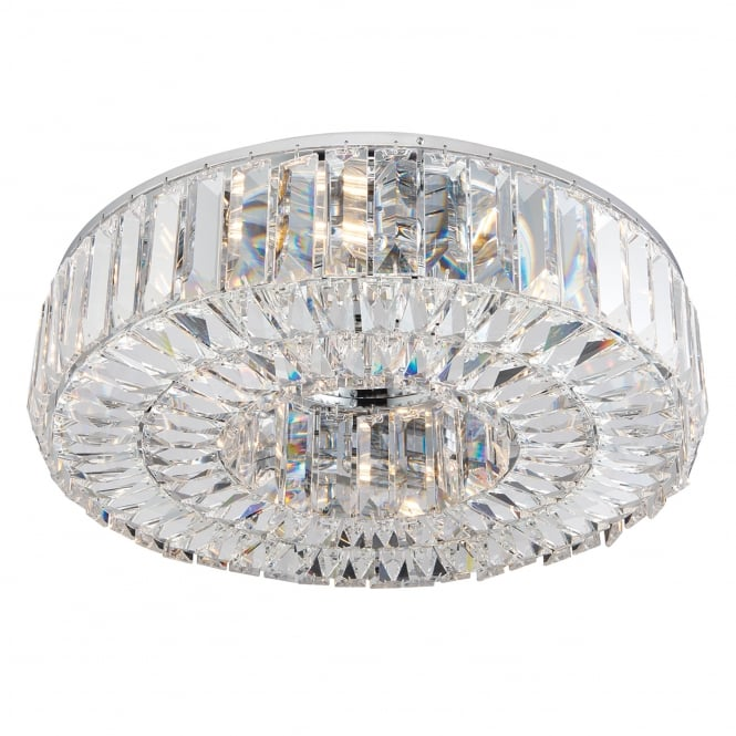 Endon Lighting Banderas 6 Light Asfour Lead Crystal Ring Flush Fitting