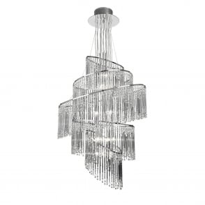 Camille 24 Light Clear Glass Rod Chandelier Pendant