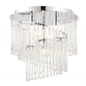 Camille 4 Light Clear Glass Rod Flush Ceiling Fitting