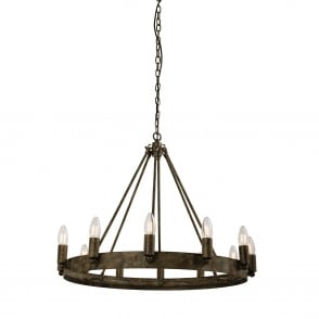 Chevalier Aged Metal Effect 12 Light Ring Pendant Light