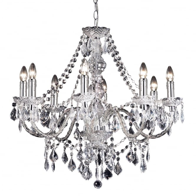 Endon Lighting Clarence 8 Light Clear Acrylic Chandelier Pendant