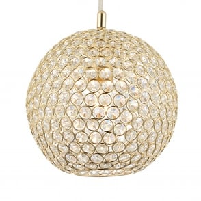 Claudia 1 Light Brass and Clear Crystal Glass Round Pendant