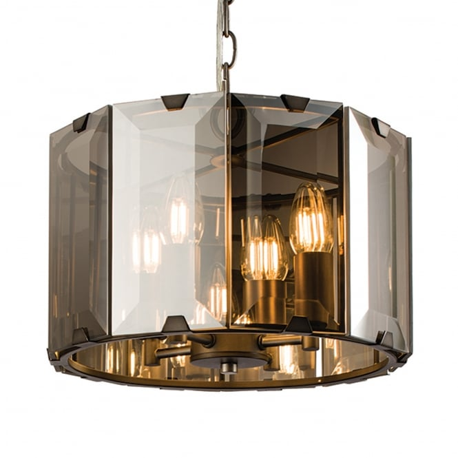 Endon Lighting Clooney 4 Light Smoked Bevelled Glass Pendant Light