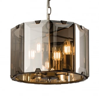Clooney 4 Light Smoked Bevelled Glass Pendant Light
