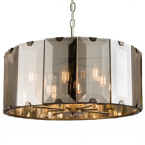 Clooney 8 Light Smoked Bevelled Glass Pendant Light