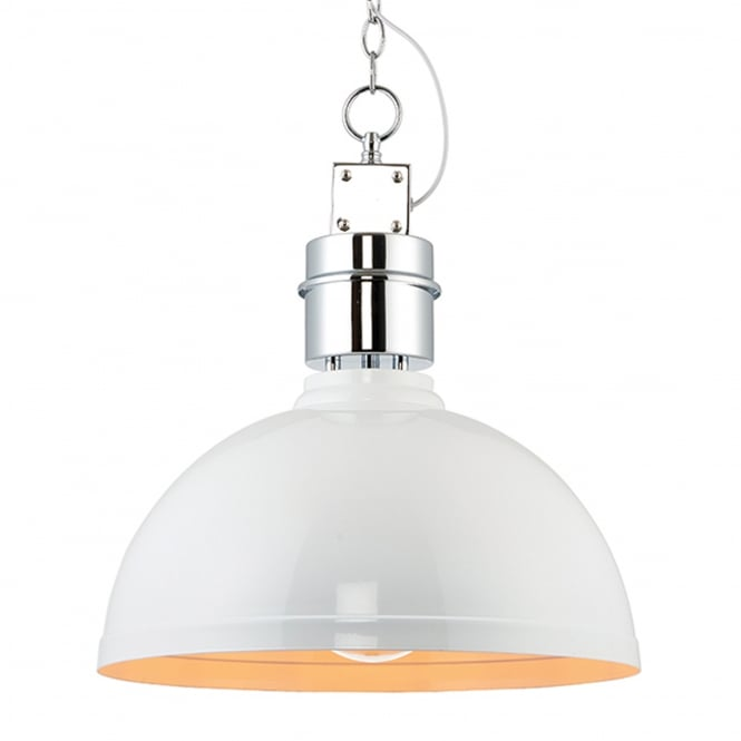 Endon Lighting Collingham Pendant Light in Gloss White and Satin Chrome
