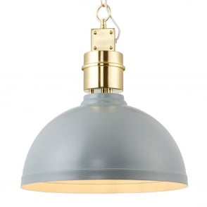 Collingham Pendant Light in Satin Stormy Grey and Brushed Gold