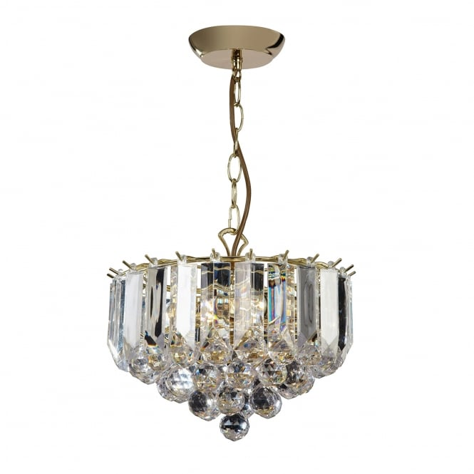 Endon Lighting Fargo 3 Light Clear Acrylic Crystal Drop Small Brass Pendant Light