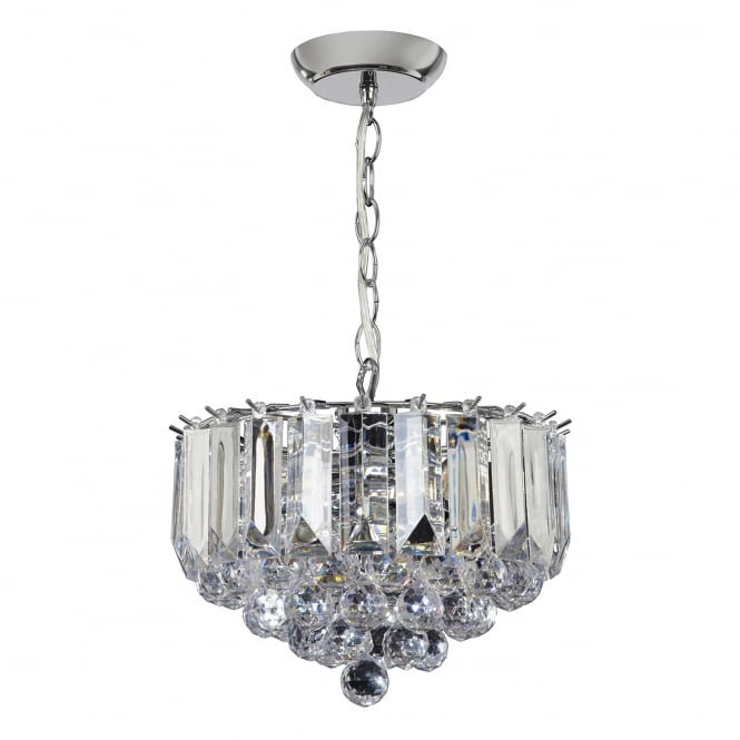 Endon Lighting Fargo 3 Light Clear Acrylic Crystal Drop Small Pendant Light