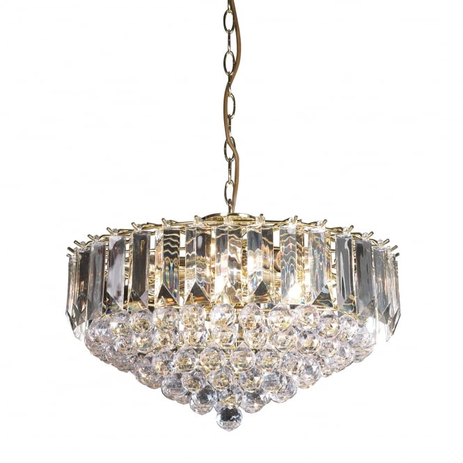Endon Lighting Fargo 6 Light Clear Acrylic Crystal Drop Brass Pendant Light