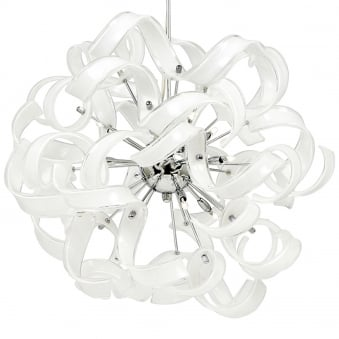 Fonda 9 Light White Ribbon Glass Pendant Light