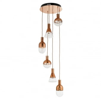 Giamatti 6 Light Clear and Copper Glass Cluster Pendant